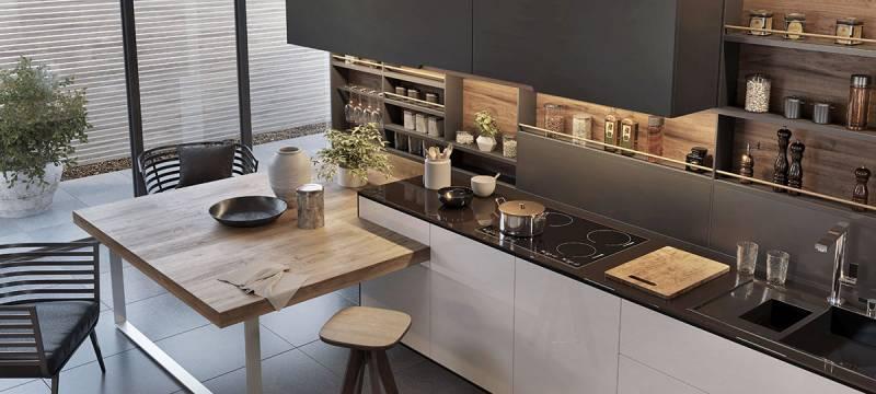 Agencement de cuisine moderne et sur-mesure avec bar pour ...